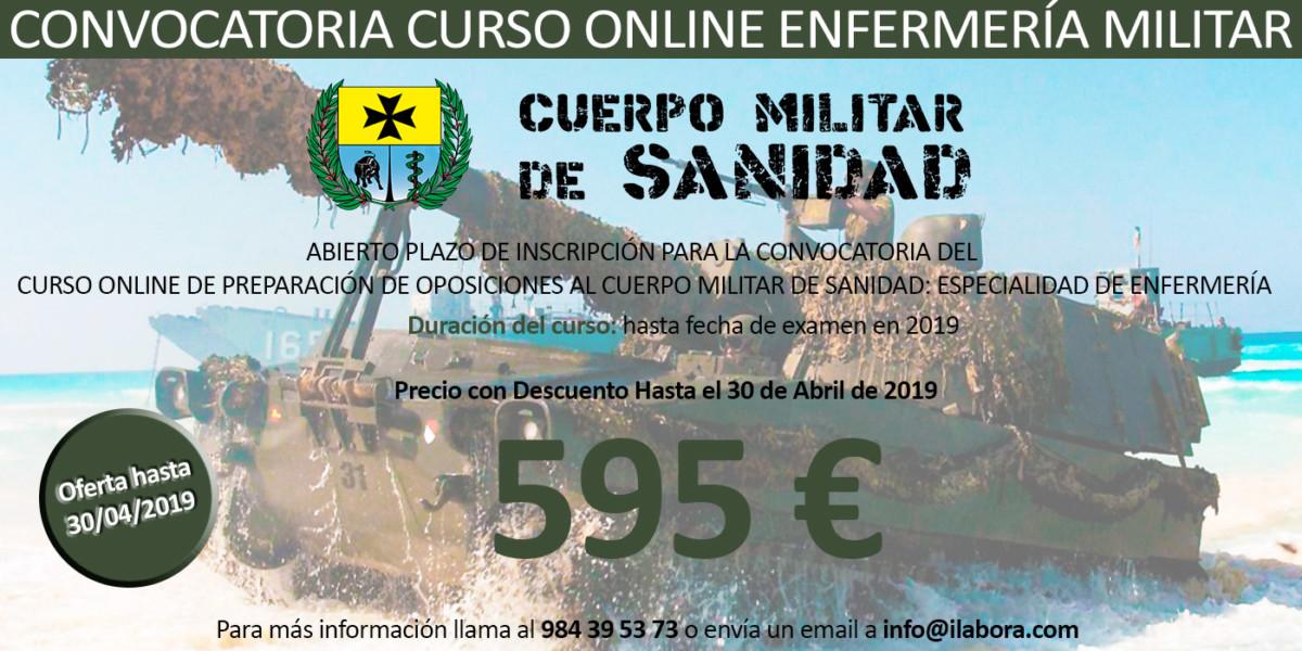 Convocatoria del Curso Online de Preparación de Oposiciones al Cuerpo Militar de Sanidad: Especialidad de Enfermería